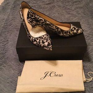 J Crew black and white kitten heels